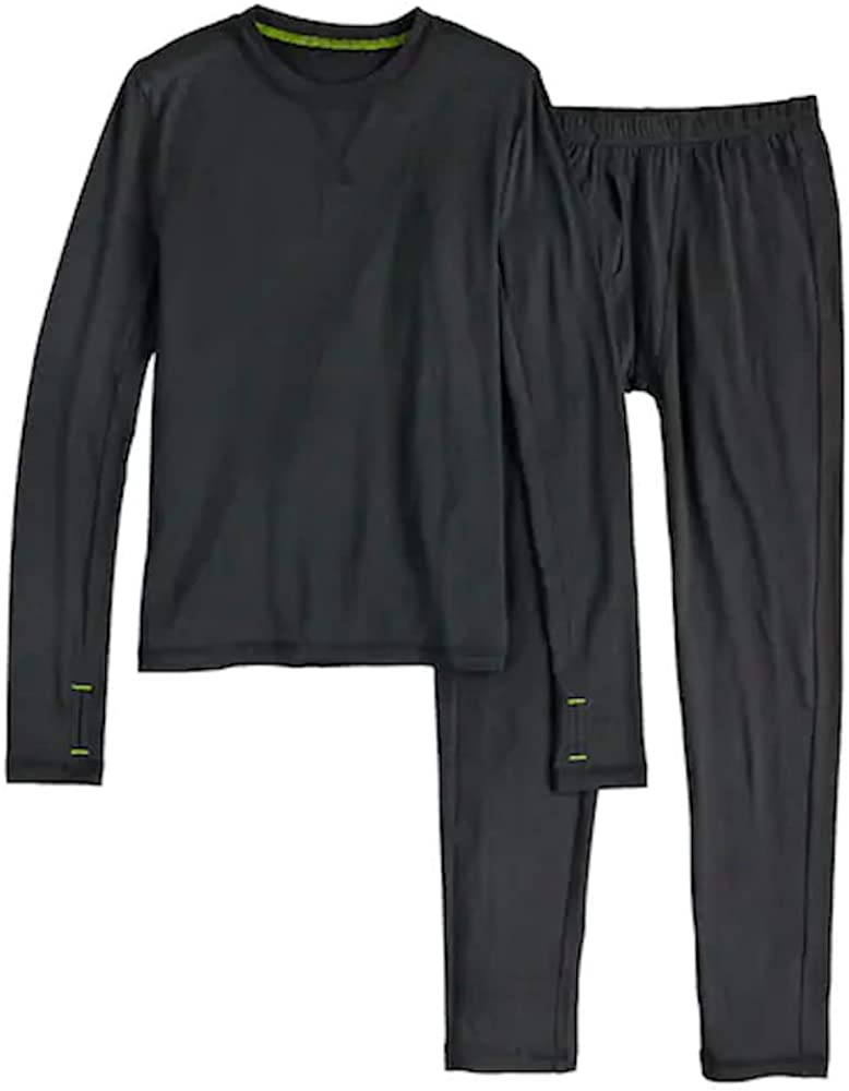 Boy/'s 2 PC Performance Base Layer Set Long Sleeve Crew Pant