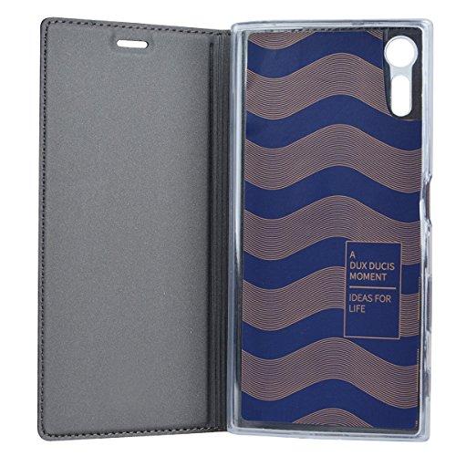 Sony Xperia XZ (5.2) Funda ,GOGME Funda de cuero Funda Flip Funda de cuero Funda protectora con cubierta de teléfono celular para Sony Xperia XZ - oro rosa Negro