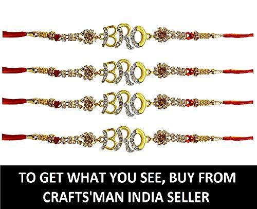 Beautiful BRO Design 4 Pcs Rakhi Set for Bhaiya, Bhabhi on Indian Rakhi Rakshabandhan Festival, Rakhi Threads/Rakhi Bracelets/Rakhi for Brother, Best Gift for Brother on Rakshabandhan Rakhi Bands