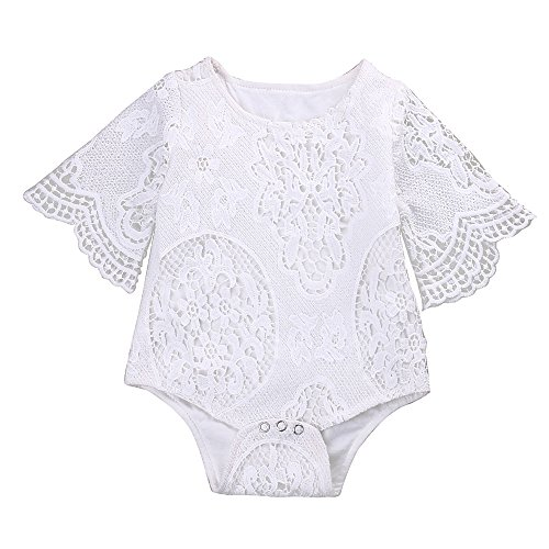 Mikrdoo Newborn Infant Baby Girl Flower White Lace Off Shoulder Romper Jumpsuit Outfit Clothes (12-18 Months, B) ()