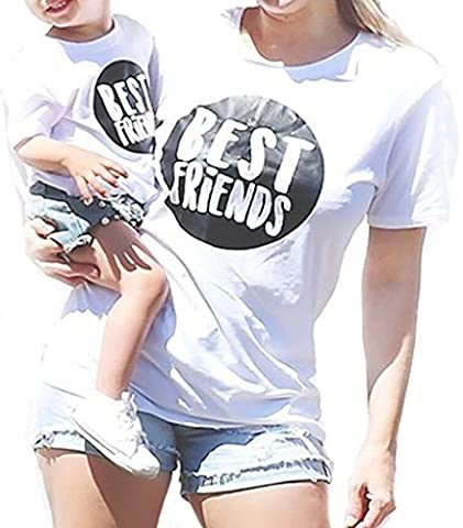 Parent-Child Shirt Matching Set Outfit Tops Best Friend Printed Family Clothes White Blouse (S, - Best White Blouse