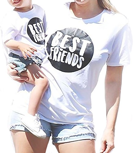 Emmababy Parent-Child Shirt Matching Set Outfit Tops Best Friend Printed Family Clothes White Blouse (M, Mom)