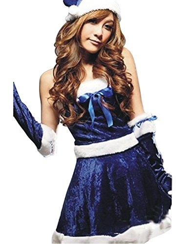 Drasawee Women's Girls Santa Claus Cosplay Suit Christmas Fancy Costume Dress Set Blue -