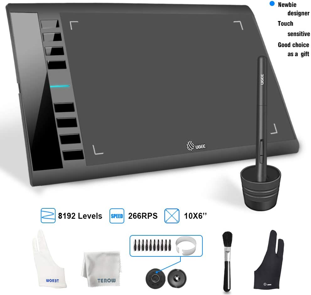 M708 UGEE Graphics Tablet 10 x 6 inch Large Active Area Drawing Tablet with 8 Hot Keys, 8192 Levels Pen, UGEE M708 Graphic Tablets for Paint, Digital Art Creation Sketch