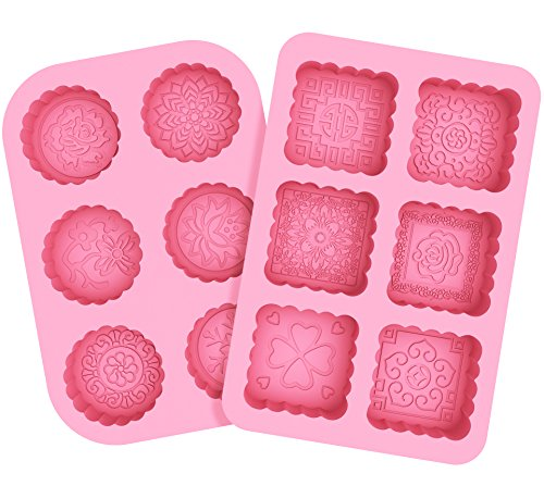 Korlon 2 Pack 6 Cavities Silicone Soap Molds, Round & Square Soap Molds, DIY Bar Soap Making Molds, Mooncake Chocolate Baking Mold, Soap Making Supplies for Handmade, Ice Cube Tray
