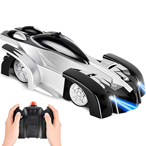 ROOYA BABY Gravity Defying Wall Climbing Car, Remote Control Car USB Rechargeable Anti Gravity RC Car No Gravity Electric Vehicles with LED Lights 360 Rotating Stunt Race Cars Kids Gifts Age 8 (Black)