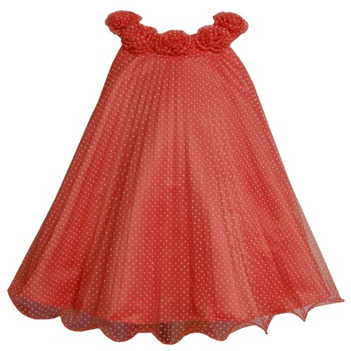 Bonnie Jean Baby 3M-9M Coral Flock Dot Sunburst Crystal Pleat Trapeze Dress