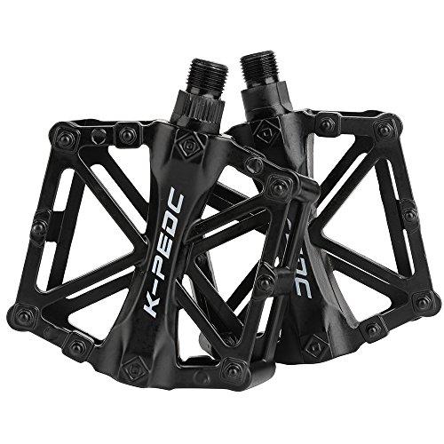 Boruizhen Bike Platform Pedals Lightweight Road Cycling Bicycle Pedals for MTB BMX (Black)