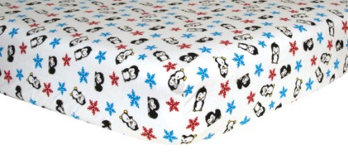 Trend Lab Cotton (Trend Lab Print Flannel Crib Sheet, Penguin)