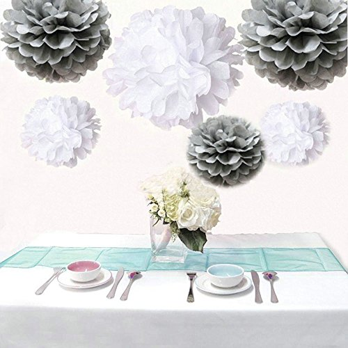 Saitec ® 12PCS Mixed Sizes White & Silver Tissue Paper Pom Poms Pompoms Wedding Birthday Party Decoration Holiday Supplies ()