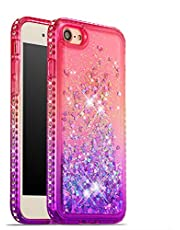 for iPhone 6 Plus iPhone 6S Plus Bling Case, CrazyLemon Shiny Heart Shape Quicksand & Full Side Rhinestone Design Pink + Purple Durable Shockproof Soft Silicone TPU Case Cover for Girls Women - 02