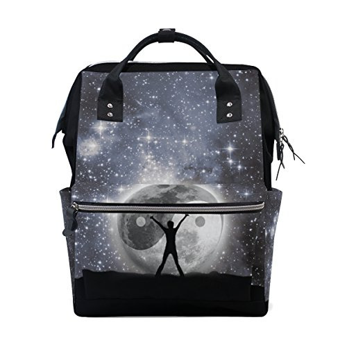Backpack School Bag Galaxy Star Ying Yang Canvas Travel Doctor Style Daypack (Bag Yang)