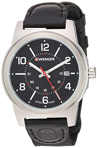 Wenger Men's 'Field Gear' Swiss Quartz Stainless Steel and Nylon Casual Watch, Color:Black (Model: 01.0441.164)