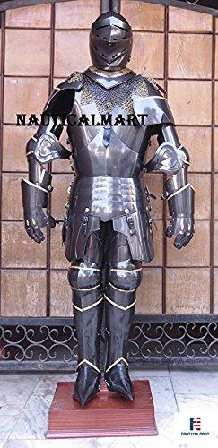 NAUTICAL MART LARP Rüstung mittelalterliche Ritter SCA, geeignet für Armor-Panzer, Farbe  Blau