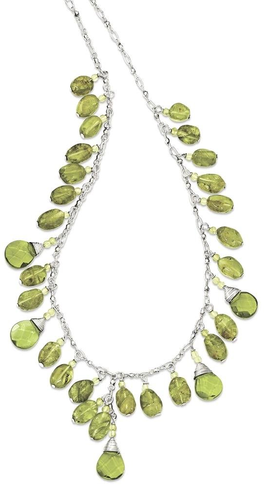 ICE CARATS 925 Sterling Silver Green Peridot Crystal Drop Chain Necklace Gemstone Fine Jewelry Gift Set For Women Heart