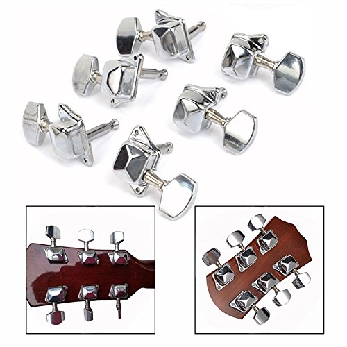 OFKPO 3R3L Chrome Guitar Tuners Guitar Semi Closed Tuners Machine Heads with Screws (6Pcs)