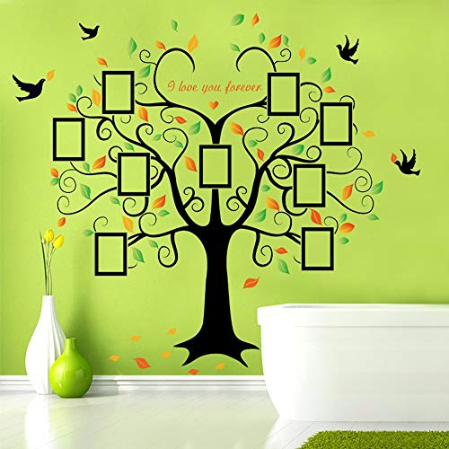 Family Tree Wall Decal - 9 Large Photo Picture Frames - Peel and Stick Wall Decal - Best Removable Wall Decal for Living Room, Bedroom, Kids Rooms, Mural Decor - 80'' Wide x 63'' Tall by GoGoDecal (Image #5)