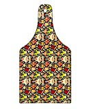 Lunarable Cinco De Mayo Cutting Board, Doodle Mexican Culture Elements as Tequila Taco Aztec Mask Skull and Sombrero, Decorative Tempered Glass Cutting and Serving Board, Wine Bottle Shape, Multicolor