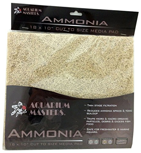 Professional Ammonia Remover Pad, 18 Inch by 10 Inch for Fresh Water & Saltwater Aquariums, Aquaculture, Terrariums & Hydroponics ()