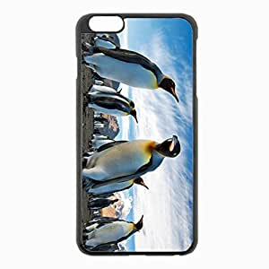 iPhone 6 Plus Black Hardshell Case 5.5inch - penguins royal colony antarctica south mountains sky Desin Images Protector Back Cover