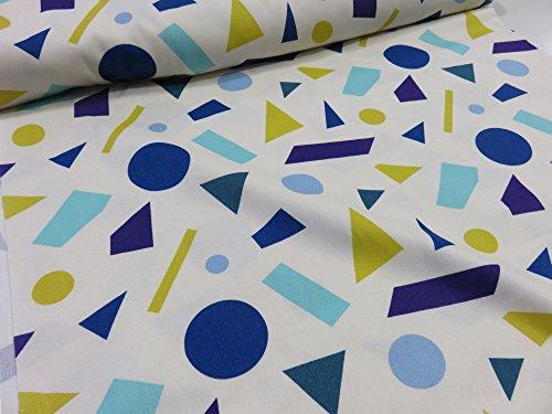 北欧風 丸と四角と三角2 オフ×ブルー オックス生地 |北欧風 丸と四角と三角2 モノトーン オックス生地の商品画像