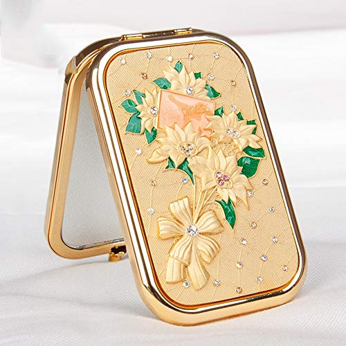 Allies Ladies Watch (ZXK Golden Silver Girlfriend Gift Makeup Mirror Portable Double-Sided Folding Plating Color Crystal Diamond Small Mirror Luxurious (Color : Gold))