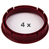 4 x Anillo Central 66.45 mm a 57.1 mm rojo/Red
