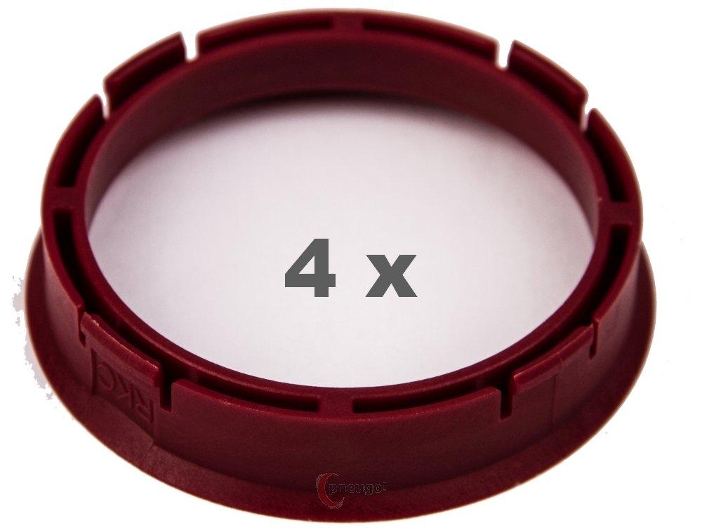 4 X Anello Di Centraggio 66.45 mm a 57.1 mm rosso/Red Pneugo