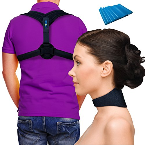 Magnetic Therapy Neck - Self Heating Magnetic Therapy Neck Brace & Posture Corrector Back Support Brace ~ INCLUDES EXERCISE BAND ~ Fix Posture ~ Ease Pain ~ Adjustable ~ For Men & Women ~ Neck Pain Relief BUNDLE ~ by Magnio