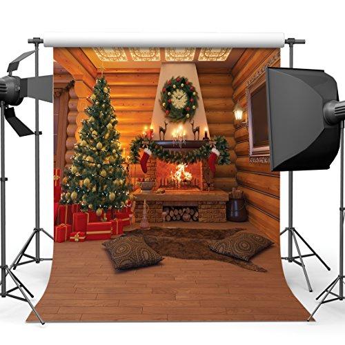 SJOLOON 10x10ft Christmas Photography Backdrops Wood House...