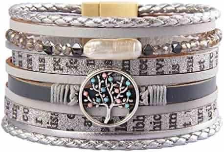 4fcb912e987 Jenia Tree of Life Leather Cuff Bracelet Handmade Wristband Gorgeous Wrap  Bracelet with Magnetic Buckle Bohemian