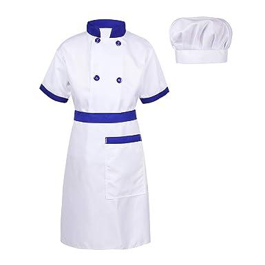 Alvivi 3Pcs Cosplay Uniforme Chef de Cocina Baker Disfraz de Cocinero Abrigo Chaqueta Delantal Delantal Restaurante Camarera para Niño Niña Unisex: ...
