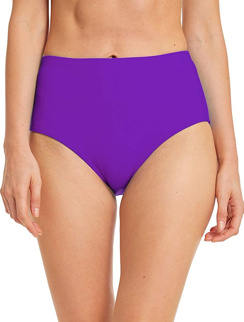Micosuza Womens Swim Bottom High Waist Retro Basic Full Coverage Bikini Tankini Swimsuit Briefs