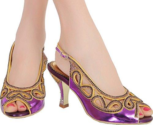 Salabobo L026 Womens Roman Rhinestone Comfort Weddge Peep Toe Sandals Glaring Fashion Pretty Performance Wedding Dress Bride Bridemaid Party Work Job Leisure Shoes Purple 0HpqaKCL