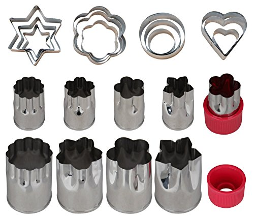 Canape Cutters - Einfac Stainless Steel Vegetable Cutter Shapes Set (20pcs) Vegetable Fruit Cookie Cutter Mold - Cute for Fun Food