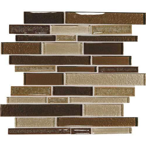 Daltile CSRANDMSP Crystal Shores - Random Linear Mosaic Wall Tile - Smooth Glass, Copper Coast