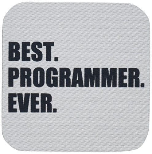 3dRose cst_185015_2 Best Programmer Ever, Fun Gift for Talented Computer Programming, Text Soft Coasters, Set of - Programming Coasters