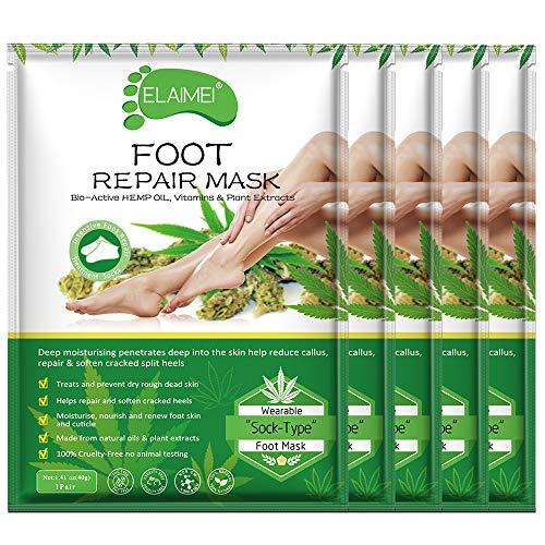Moisturizing Foot Mask 5 Pack, Exfoliating Deep Repair Whitening Anti-aging for Dry Rough Feet
