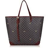 BUEALLY Womens Designed Shopping Tote Bag Leather Shoulder Handbags Top Handle Bag (Large, red)
