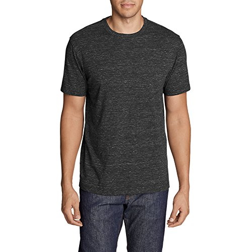 Eddie Bauer Men's Legend Wash Space-Dye Short-Sleeve T-Shirt, Black HTR Tall M (Wash Dye)