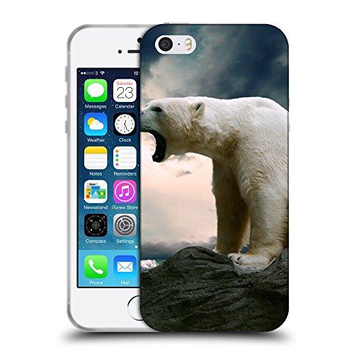 Just Phone Cases Coque de Protection TPU Silicone Case pour // V00004075 rugissements d'ours polaires à la mer // Apple iPhone 5 5S 5G SE