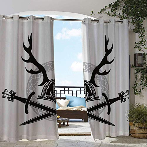 Linhomedecor Balcony Waterproof Curtains Antler Helmet Antlers and Vi Swords Celtic Circle Medieval Barbarian XL Black White Silver pergola Grommet Bathroom Curtains 72 by 96 inch ()
