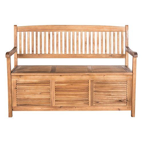 Safavieh Outdoor Collection Brisbane Brown Storage Bench, Teak (Cushions For Outdoor Furniture Brisbane)