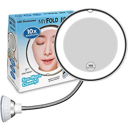 10X Magnifying Makeup Mirror, Adjustable Flexible Gooseneck LED Mirror & Locking Suction Cosmetic Mirror, Magnification…
