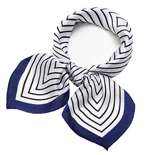 Fashion Neck Scarf (NaSoPerfect Silk Scarf Square Satin Headscarf Fashion Maze Neck Hair Scarfs for Women White)