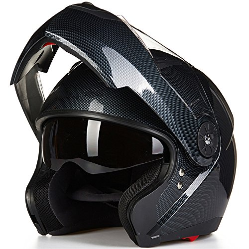ILM 8 Colors Motorcycle Modular Flip up Dual Visor Helmet DOT (XL, Carbon Fiber)