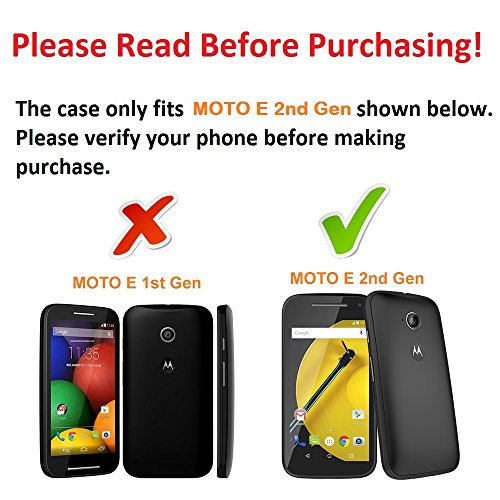 DuroCase ® Motorola Moto E 2nd Gen. (2015 Released) Hard Case Black - (Moon Stars Sun)