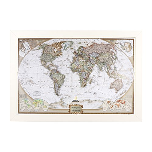(Push Pin Travel Maps Personalized Executive World with Textured White Frame and Pins - 27.5 inches x 39.5 inches )