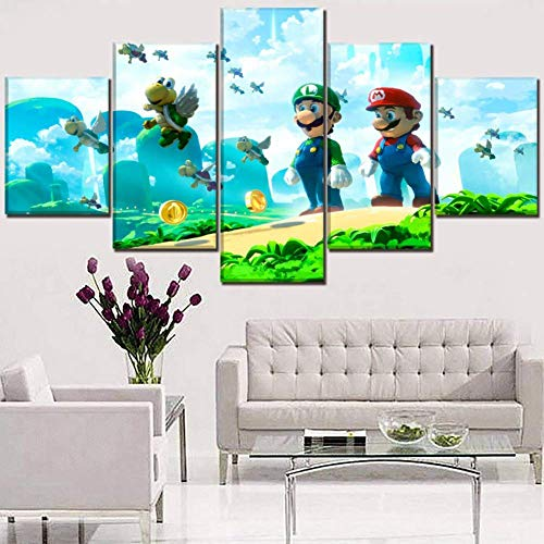 BT& 3D 5 Pieces Super Mario Pattern Canvases Print Beautiful Wall Art Paintings The Picture Prints On Canvas for Home Decor Gift,B,30x40x2+30x60x2+30x80x1 ()