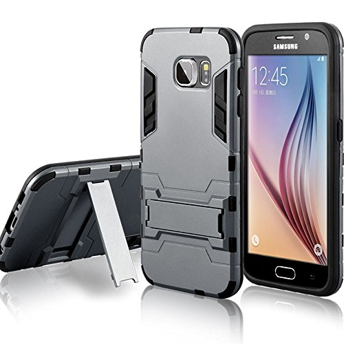 Roybens 2 in 1 Armor Kickstand Hybrid Rubber Hard Case Cover Skin For Samsung Galaxy S6 Grey